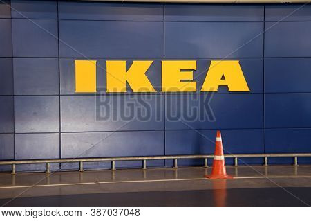 Bang Phli, Samut Prakan, Thailand, Jan 7, 2018 : Ikea Yellow Sign On Blue Wall, Ikea Is A Big Furnit