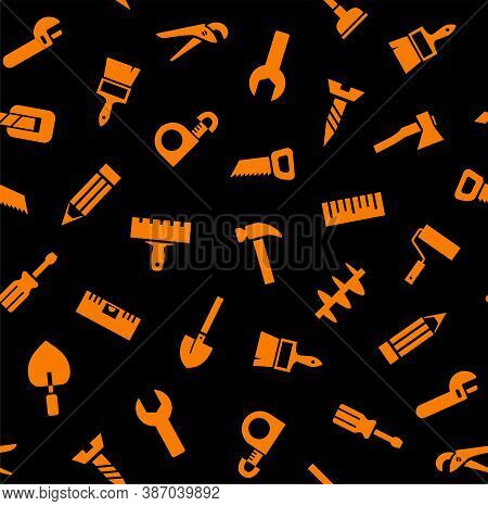 Hand Tools, Construction, Seamless Pattern, Color, Black. Orange Icons On A Black Field. Colored Fla