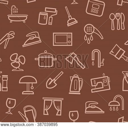 Household Goods And Appliances, Seamless Pattern, Color, Brown. Brown Icons On A Brown Field. Thin O