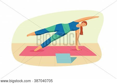 Color Vector Illustration In Flat Style Isolated On White Background. Template For Yoga Studio. The
