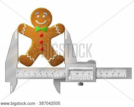 Horizontal Caliper Measures Gingerbread Man. Concept Of Holiday Cookie Decorated Colored Icing And M