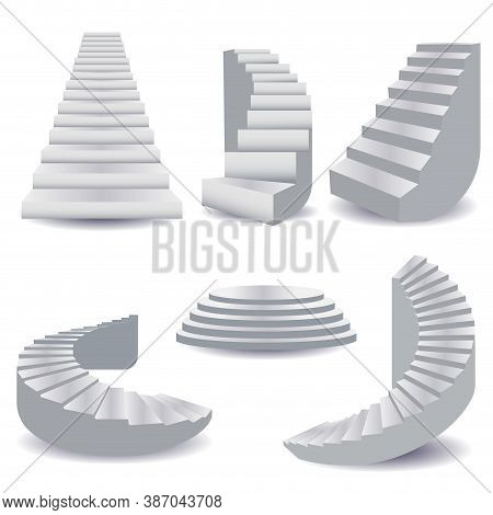 White Stairs Collection. Staircase Isolated 3d, Stairway For Interior. Podium Stage, Staircase Round