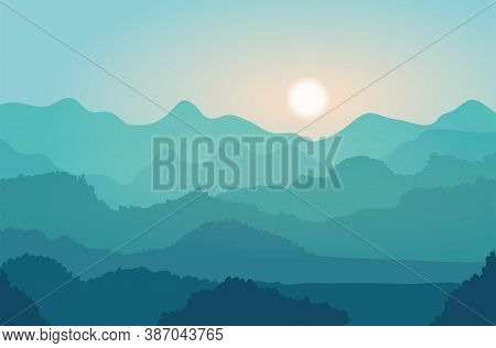 Landscape With Blue Mountains. Sunrise Over The Hills