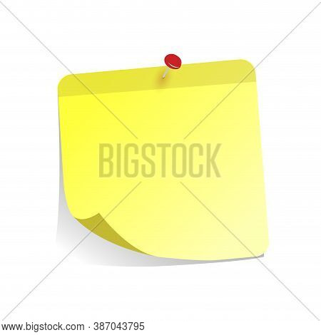 Yellow Sticker For Note Is Pinned At Board. Paper Memo Attached By Pin, Post Note Paper, Notice Stic