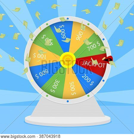 Win Jackpot In Wheel. Lucky Game Gambling, Prize Win In Roulette, Casino Jackpot Entertainment, Vect