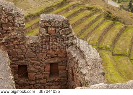 Pisac, Peru - April 4, 2014: Archaeological Park Of Pisac, Ruins And Constructions Of The Ancient In