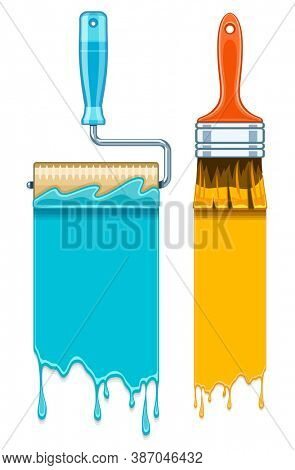 Sale banners with maintenance tools brushes and rollers for paint works. Isolated on white background. 3D illustration.