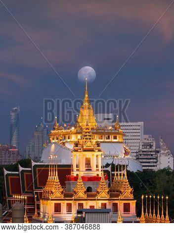 Loha Prasat Wat Ratchanatda And Golden Mountain Pagoda, A Buddhist Temple Or Wat Saket And The Moon