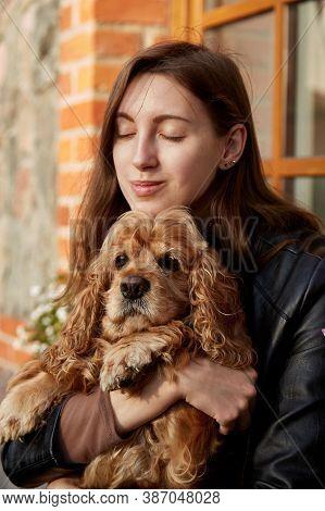 Woman With American Cocker Spaniel Sitting Hugs
