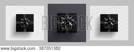 Decorative Black Gift Box With Glittering Black Bow Knot And Grey Ribbons Isolated On White, Gray An