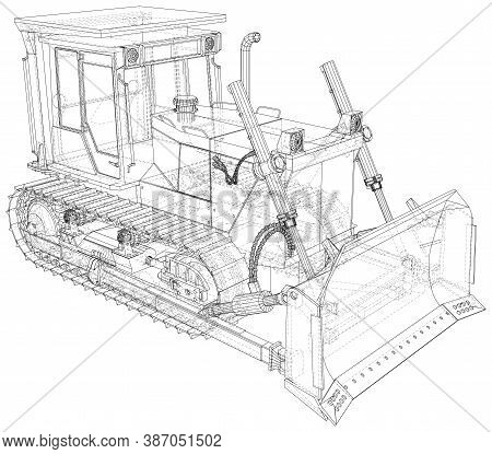 Bulldozer In Outline Style. Wire-frame Line Isolated. Vector Rendering Of 3d