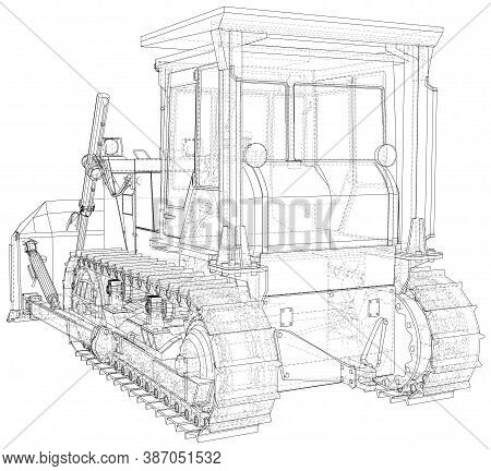 Loader Or Bulldozer. Excavator Vector Illustration. Wire-frame Line Isolated. Vector Rendering Of 3d