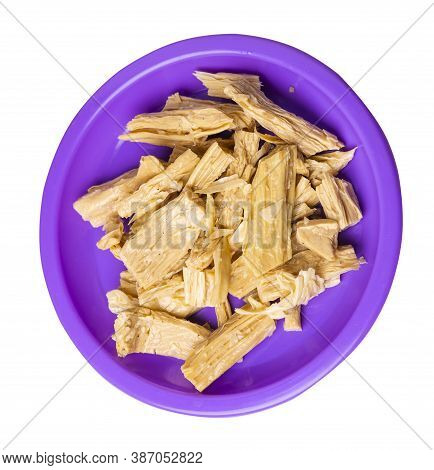 Soy Asparagus Noodles On Purple Plate, Isolated On A White Background. Healthy Food . Asian Food. So