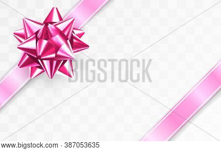 Glossy Foil Ruby Red Bow Knot. Glowing Bow With Two Pink Ribbons Isolated On Transparent Background.