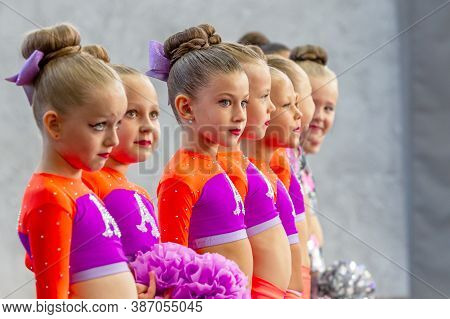 Odessa, Ukraine - September 20, 2020: Children's Cheerleading Championship. Young Cheerleaders Perfo