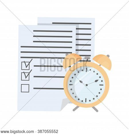 Document, To Do List And Alarm Isolated On White Background Stock Vector Illustration. Productivity,