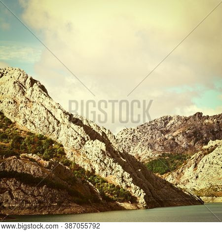 River On The Bottom Of Canyon In The Cantabrian Mountain, Vintage Style Toned Picture