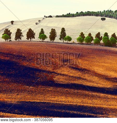 Farmhousr Among The Plowed Fields In Spain, Vintage Style Toned Picture