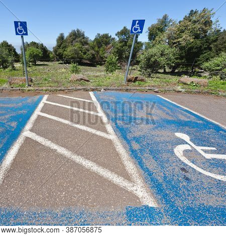 Parking For Disabled People On The Golan Heights In Israel