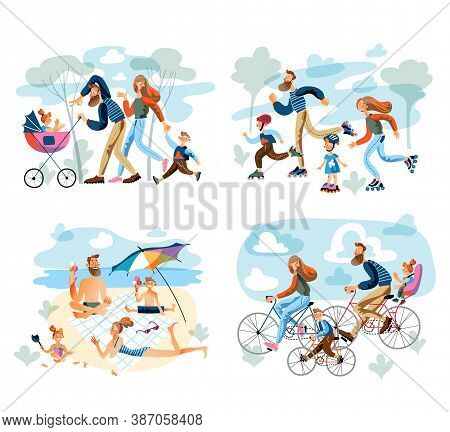Family Activity Recreation Scenes Set. Parents And Children Walk In Park, Roller Skate, Relax On Bea
