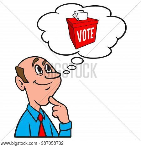 Thinking About The Ballot Box - A Cartoon Illustration Of A Man Thinking About The Ballot Box.