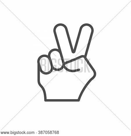 Peace Gesture Line Outline Icon Isolated On White. Vector Illustration