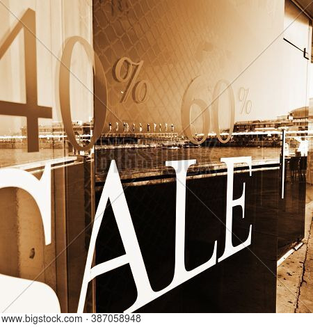 Sale Sign On Glass Window In Israel, Vintage Style Sepia