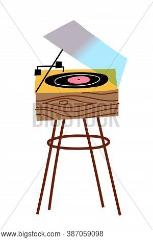 Turntable For Vinyl Record Isolated Object. Vintage Analog Music Player Playing Melody Song. Retro A