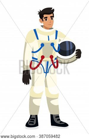 Vector Smiling Man Astronaut Character Wearing Spacesuit Holding Helmet Standing Isolated On White B