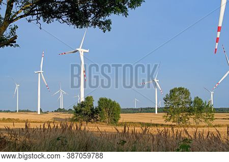 Wind Farm In The Sky And Cloud Background, Renewable Energy