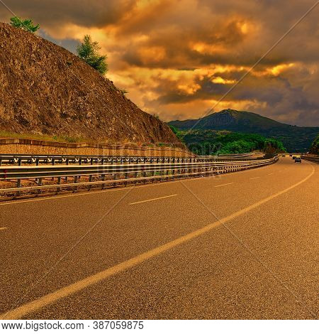 Highway In The Italian Apennines At Sunset