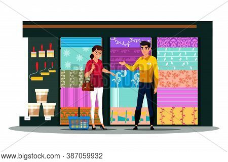 Young Woman Customer And Shop Assistant In Wallpaper Construction Store. Girl Buyer Choosing Paperha