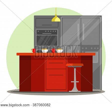 Empty Contemporary Home Kitchen With Breakfast On Table Serving For Two. House Vector Modern Interio