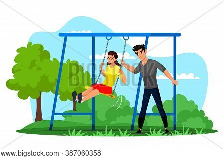 Girl Boy Friend Having Fun On Swing In Park. Young Loving Couple Character Swinging. Teenager Girlfr