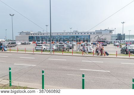 Gdansk, Poland - June 18, 2020: Evacuation Of Passengers From The Gdansk Airport. Gdansk Lech Walesa