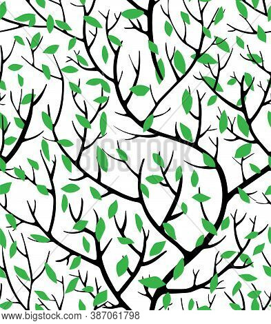 Tree Branches And Lush Foliage Seamless Pattern Vector