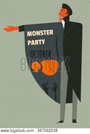 Monster Party October, Celebrating Halloween Holiday Invitation And Date