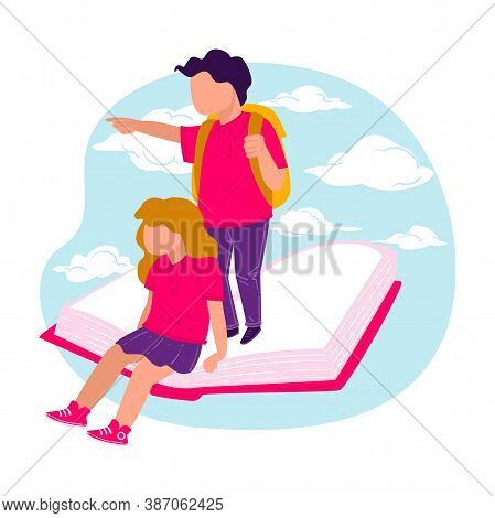Pupils With Satchels Sitting And Standing On Book