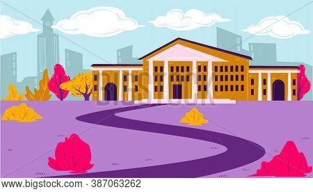 Educational Establishment, University School Or College Exterior Vector
