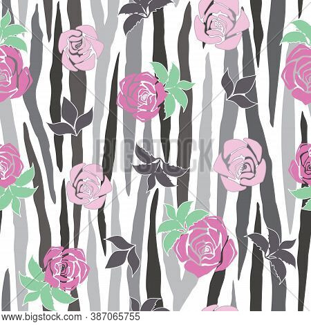 Vector Grayscale Zebra Stripe With Pink Roses Seamless Pattern Background From The Fancy Floral Zebr