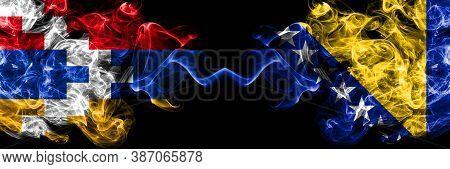 Nagorno-karabakh, Artsakh Vs Bosnia And Herzegovina, Bosnian Smoky Mystic Flags Placed Side By Side.