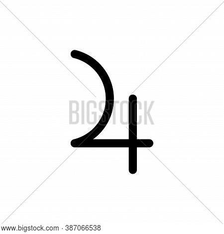 Jupiter Planet Symbol. Vector Sign. Astrological Calendar. Zodiacal Black And White Horoscope. Outli