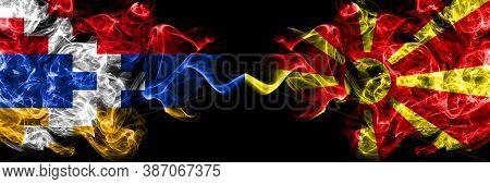 Nagorno-karabakh, Artsakh Vs Macedonia, Macedonian Smoky Mystic Flags Placed Side By Side. Thick Col