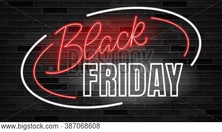 Black Friday Lettering. Ad, Poster, Sign Board Design Layout. Neon Effect Sign Board