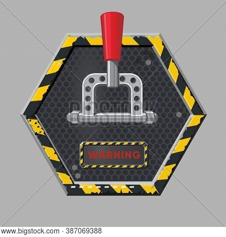 Power Toggle. Metal Switch, Realistic Style. Red Button Concept Design. Isolated Vector Sign. Vintag