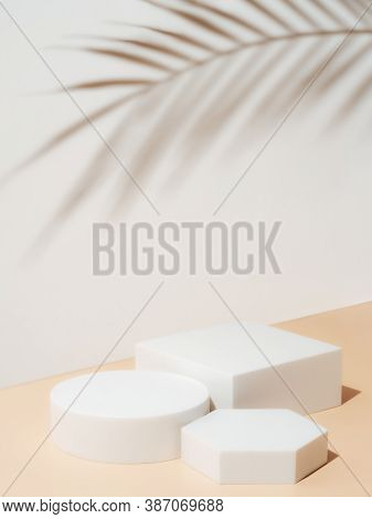 Set Of Different Geometric Shapes As Empty Pedestals On Pastel Background. Mockup For Cosmetic, Pack