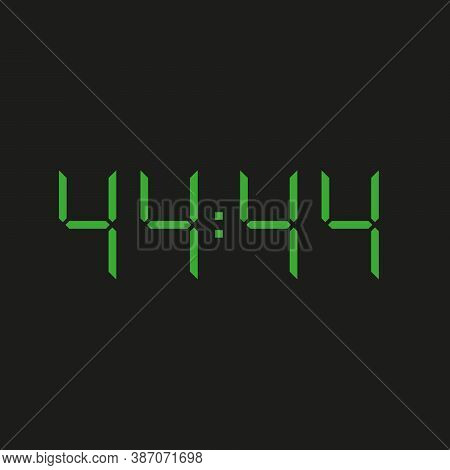 Black Background Of Electronic Clock With Four Green Numbers And Datum 44:44 - Repeating Forty Four
