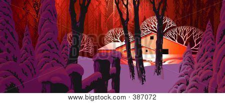 Winter Snow Scene With Barn