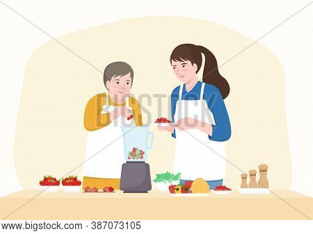 Happy Senior Mother And Middle Aged Daughter Adding Fruits In Blender. Flat Cartoon Character Design
