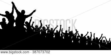 Cheerful Crowd Cheering Applause. Fans Happy People. Party Disco Concert Sport. Silhouette Vector Il